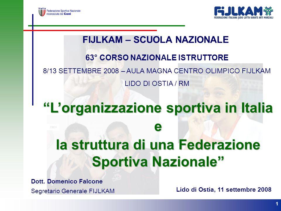 L'organizzazione sportiva in Italia e