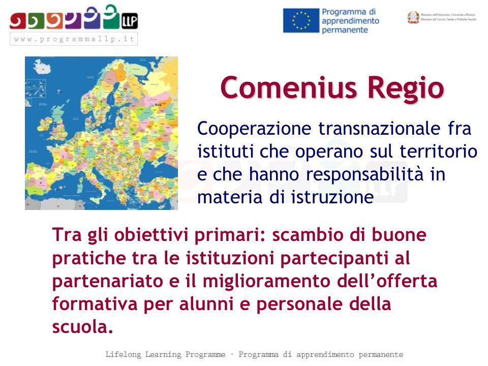 Comenius Regio Cooperazione transnazionale fra istituti che operano sul territorio e che hanno responsabilità in materia di istruzione.