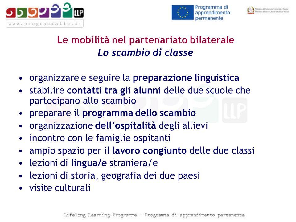 Le mobilità nel partenariato bilaterale Lo scambio di classe