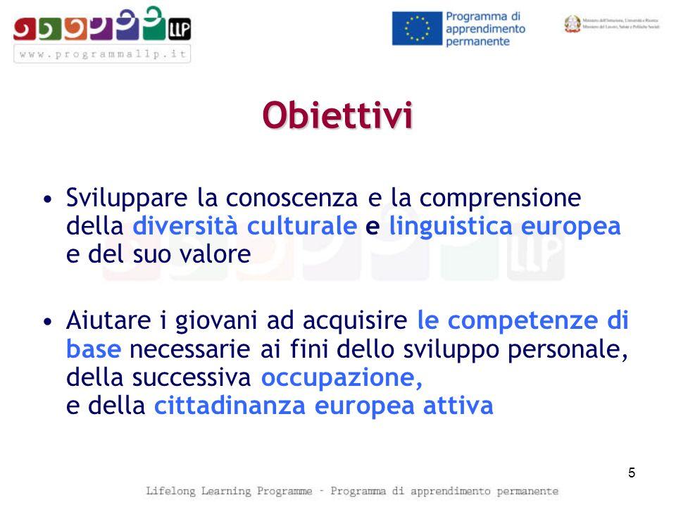 Obiettivi Sviluppare la conoscenza e la comprensione della diversità culturale e linguistica europea e del suo valore.