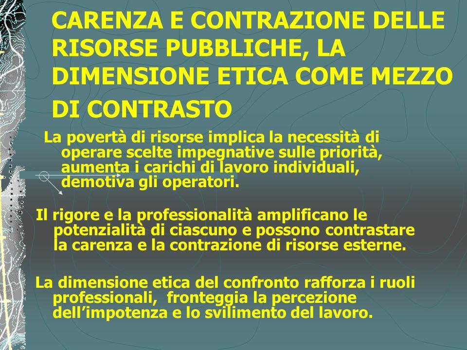 CARENZA E CONTRAZIONE DELLE RISORSE PUBBLICHE, LA DIMENSIONE ETICA COME MEZZO DI CONTRASTO