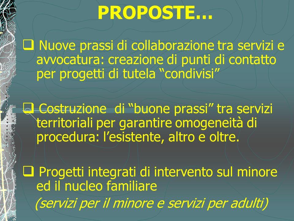 PROPOSTE… Nuove prassi di collaborazione tra servizi e avvocatura: creazione di punti di contatto per progetti di tutela condivisi