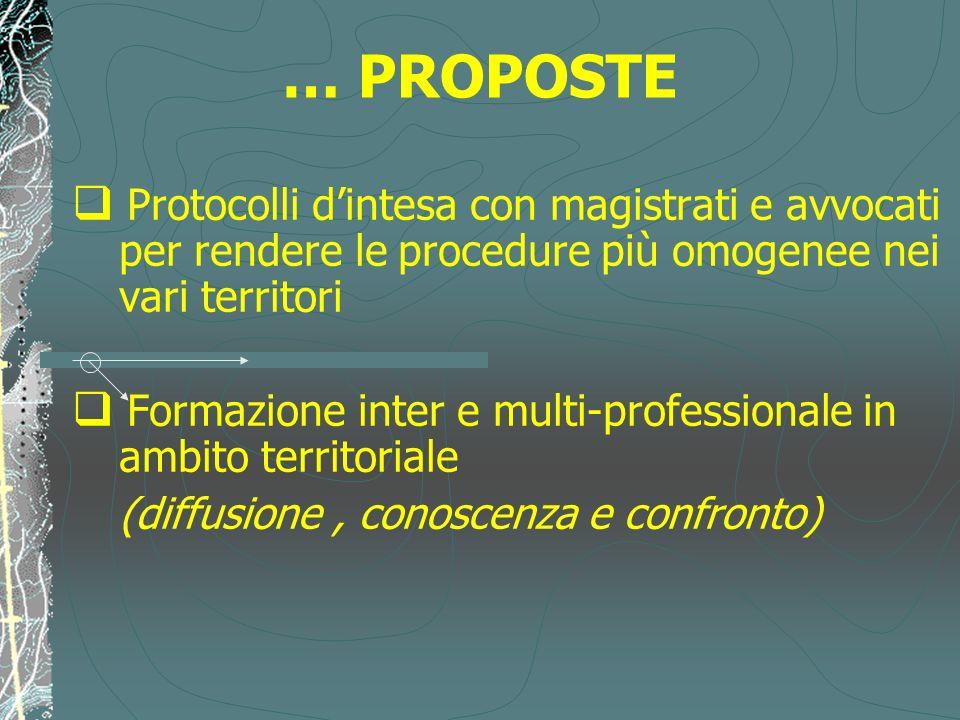 … PROPOSTE Protocolli d'intesa con magistrati e avvocati per rendere le procedure più omogenee nei vari territori.