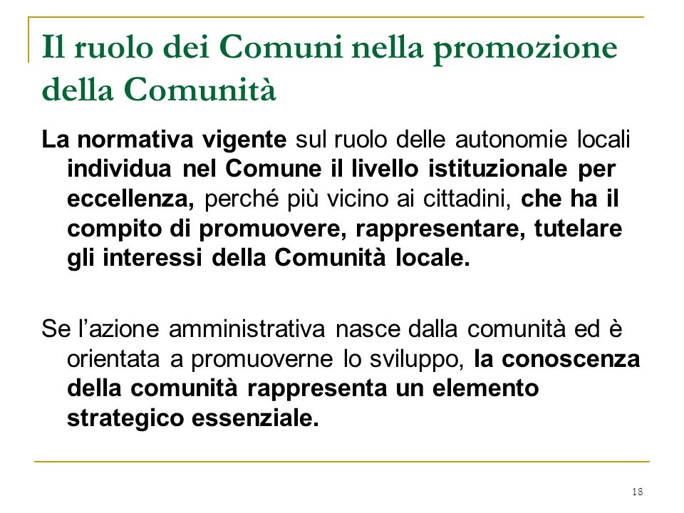Il ruolo dei Comuni nella promozione della Comunità