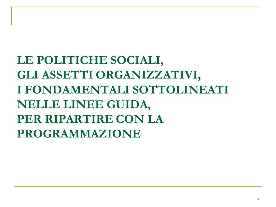LE POLITICHE SOCIALI, GLI ASSETTI ORGANIZZATIVI, I FONDAMENTALI SOTTOLINEATI NELLE LINEE GUIDA, PER RIPARTIRE CON LA PROGRAMMAZIONE