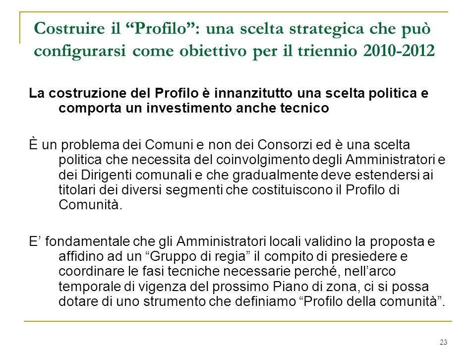 Costruire il Profilo : una scelta strategica che può configurarsi come obiettivo per il triennio 2010-2012