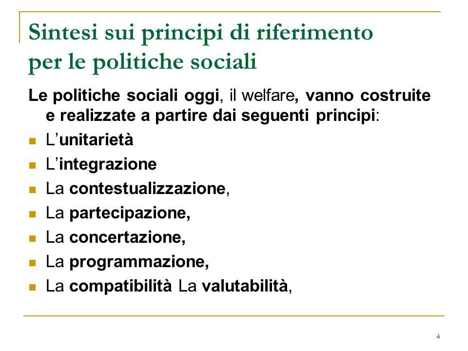 Sintesi sui principi di riferimento per le politiche sociali