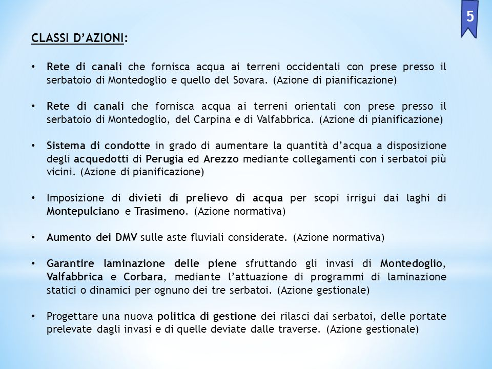 5 CLASSI D'AZIONI: