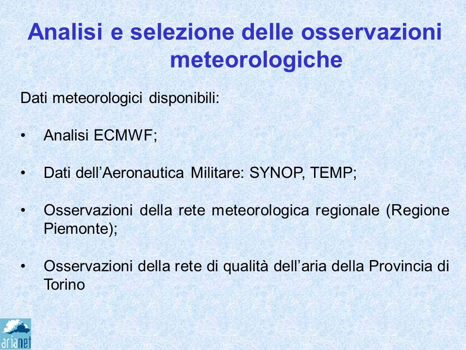 Analisi e selezione delle osservazioni meteorologiche