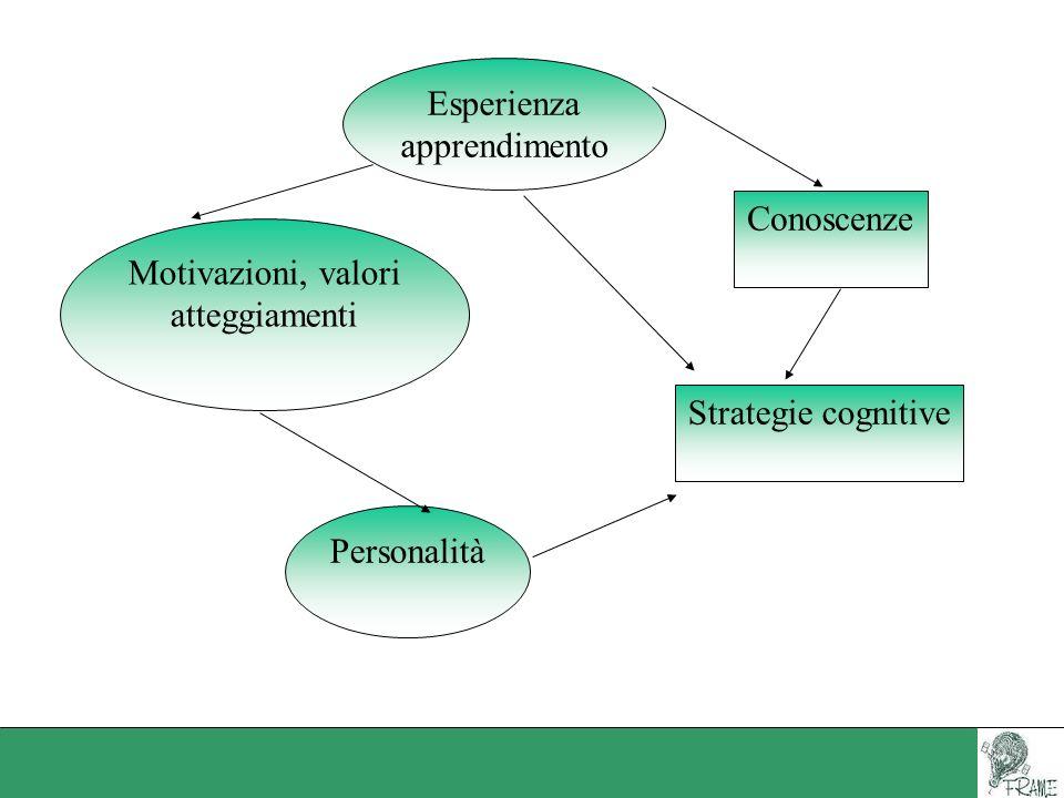 Esperienza apprendimento. Conoscenze. Motivazioni, valori.