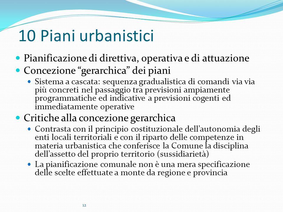 10 Piani urbanistici Pianificazione di direttiva, operativa e di attuazione. Concezione gerarchica dei piani.