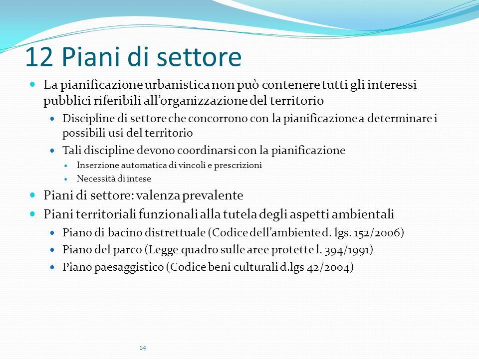 12 Piani di settore La pianificazione urbanistica non può contenere tutti gli interessi pubblici riferibili all'organizzazione del territorio.