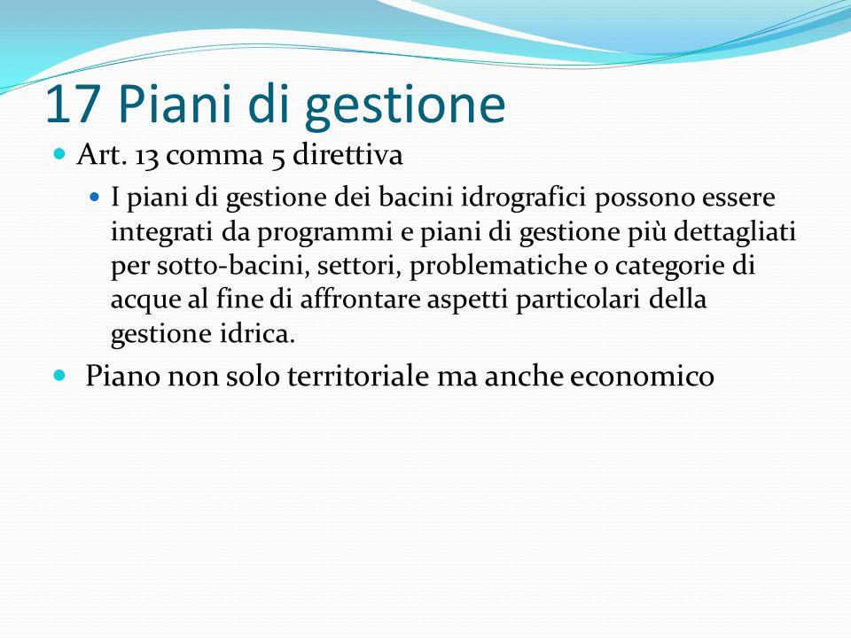17 Piani di gestione Art. 13 comma 5 direttiva