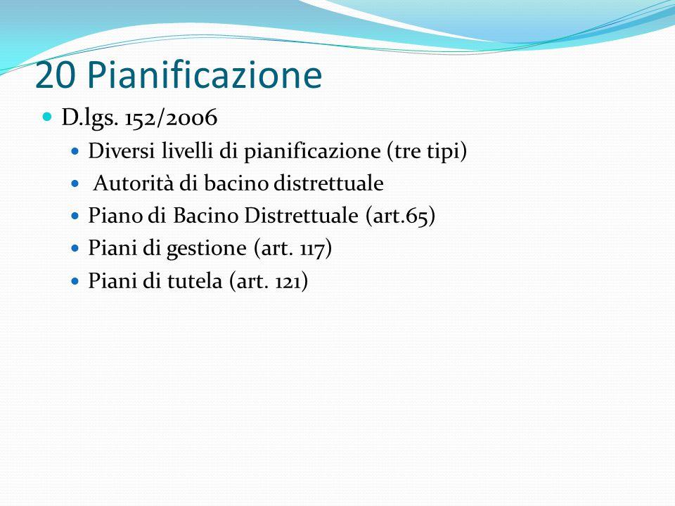 20 Pianificazione D.lgs. 152/2006. Diversi livelli di pianificazione (tre tipi) Autorità di bacino distrettuale.