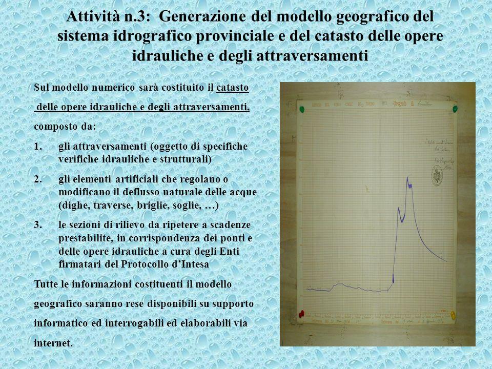 Attività n.3: Generazione del modello geografico del sistema idrografico provinciale e del catasto delle opere idrauliche e degli attraversamenti