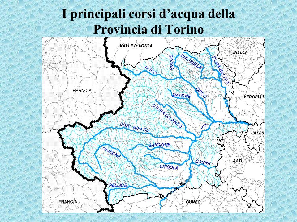 I principali corsi d'acqua della Provincia di Torino