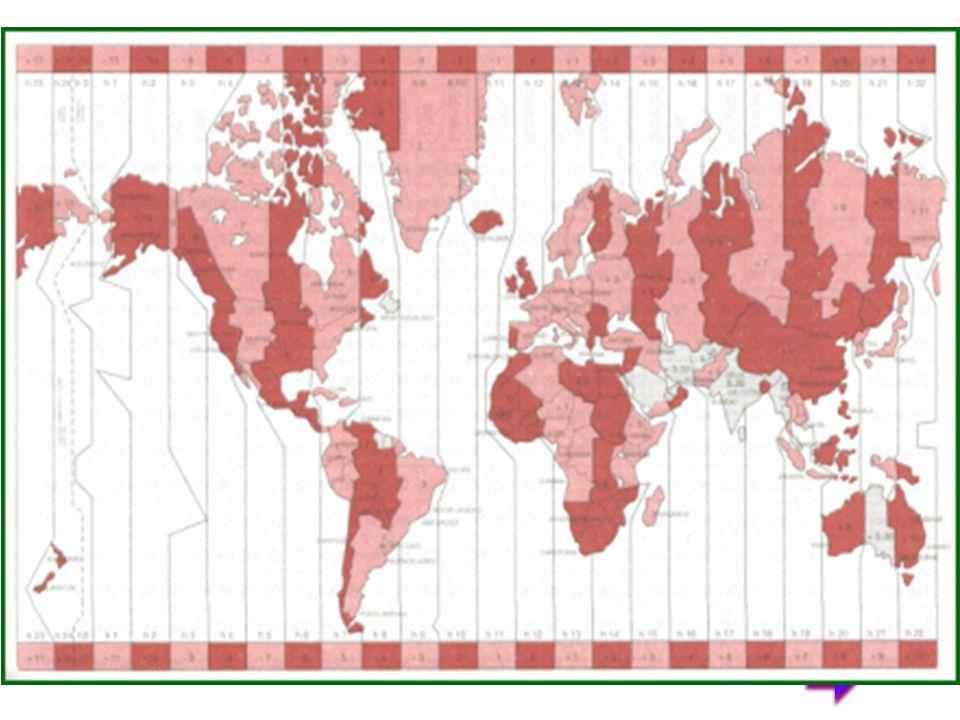 I fusi orari IL meridiano di Greenwich è anche il punto di riferimento fondamentale per la determinazione dei fusi orari.