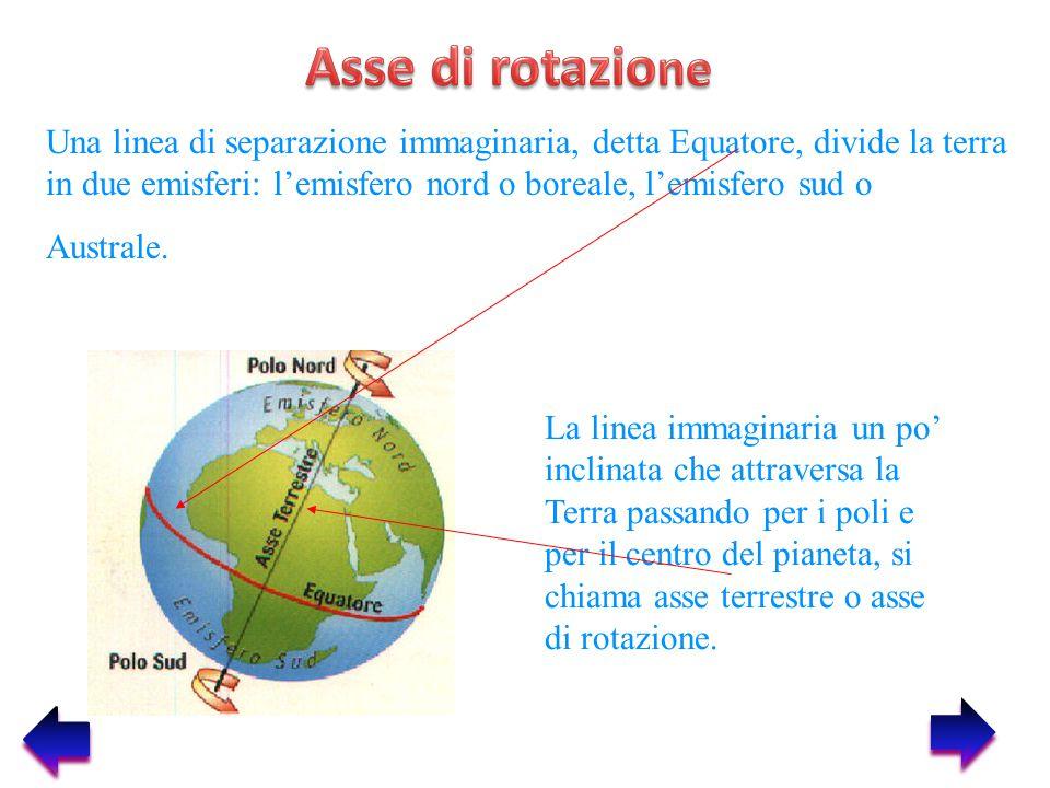 Asse di rotazione Una linea di separazione immaginaria, detta Equatore, divide la terra in due emisferi: l'emisfero nord o boreale, l'emisfero sud o.