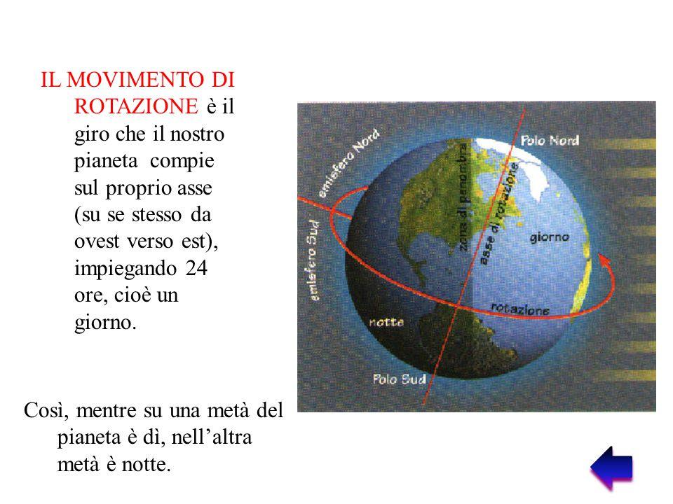 IL MOVIMENTO DI ROTAZIONE è il giro che il nostro pianeta compie sul proprio asse (su se stesso da ovest verso est), impiegando 24 ore, cioè un giorno.