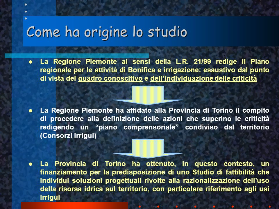 Come ha origine lo studio