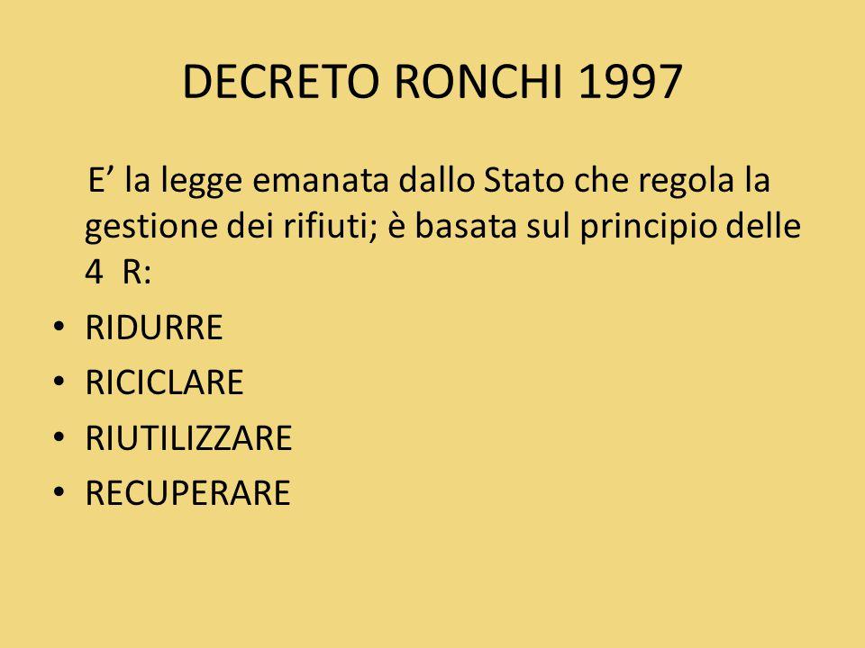 DECRETO RONCHI 1997 E' la legge emanata dallo Stato che regola la gestione dei rifiuti; è basata sul principio delle 4 R: