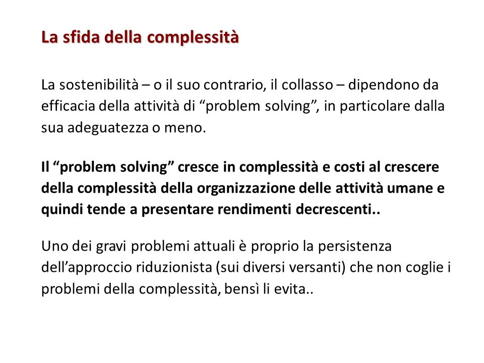La sfida della complessità