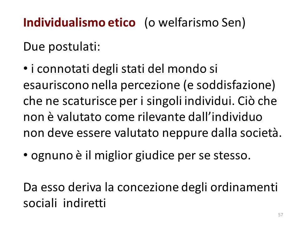 Individualismo etico (o welfarismo Sen)
