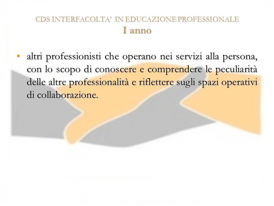 CDS INTERFACOLTA' IN EDUCAZIONE PROFESSIONALE I anno