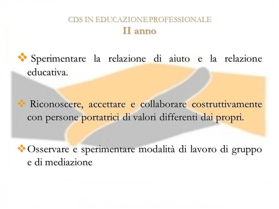 CDS IN EDUCAZIONE PROFESSIONALE II anno