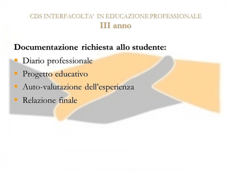 CDS INTERFACOLTA' IN EDUCAZIONE PROFESSIONALE III anno