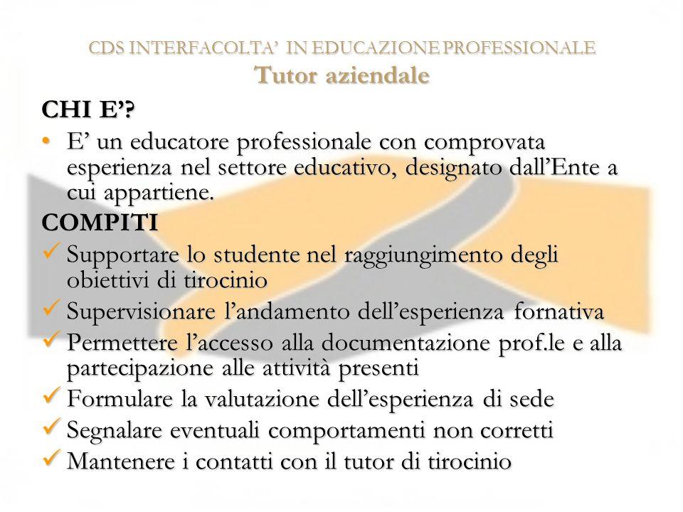 CDS INTERFACOLTA' IN EDUCAZIONE PROFESSIONALE Tutor aziendale