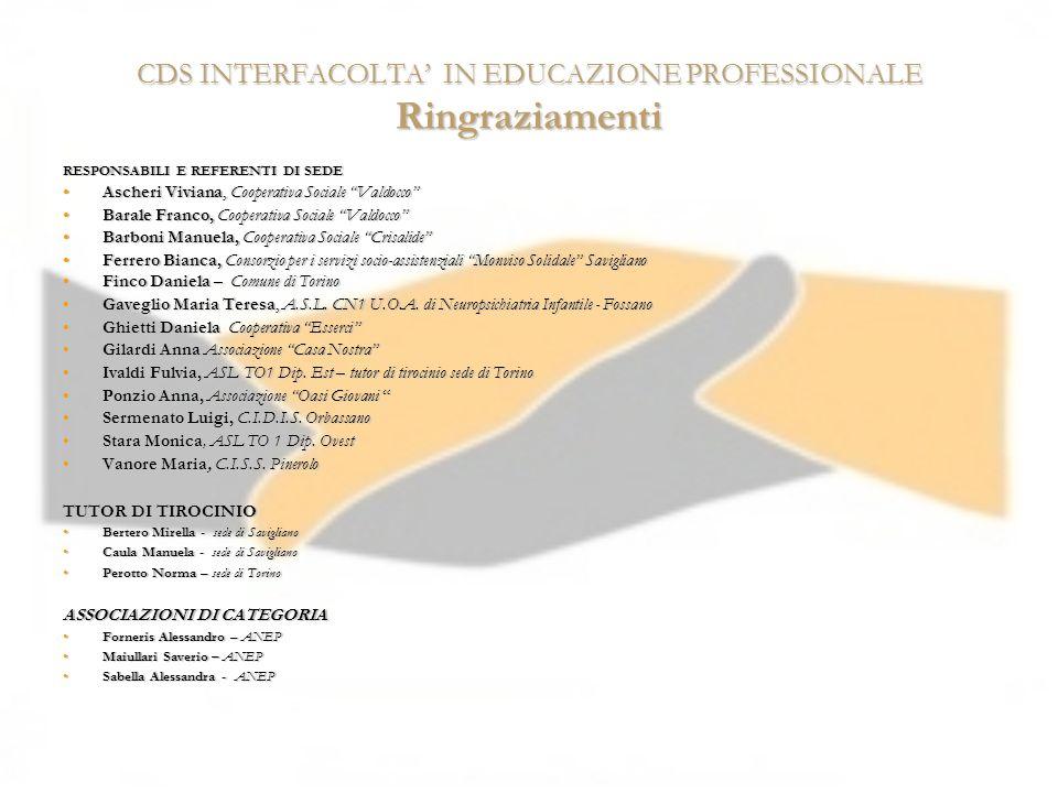 CDS INTERFACOLTA' IN EDUCAZIONE PROFESSIONALE Ringraziamenti
