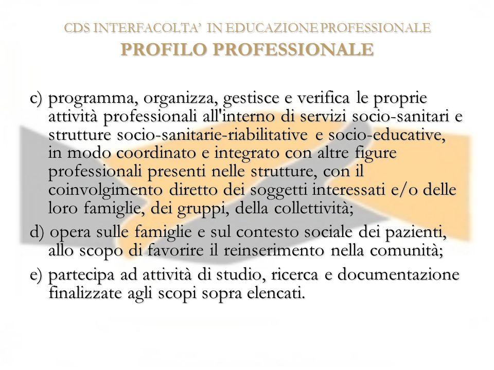 CDS INTERFACOLTA' IN EDUCAZIONE PROFESSIONALE PROFILO PROFESSIONALE