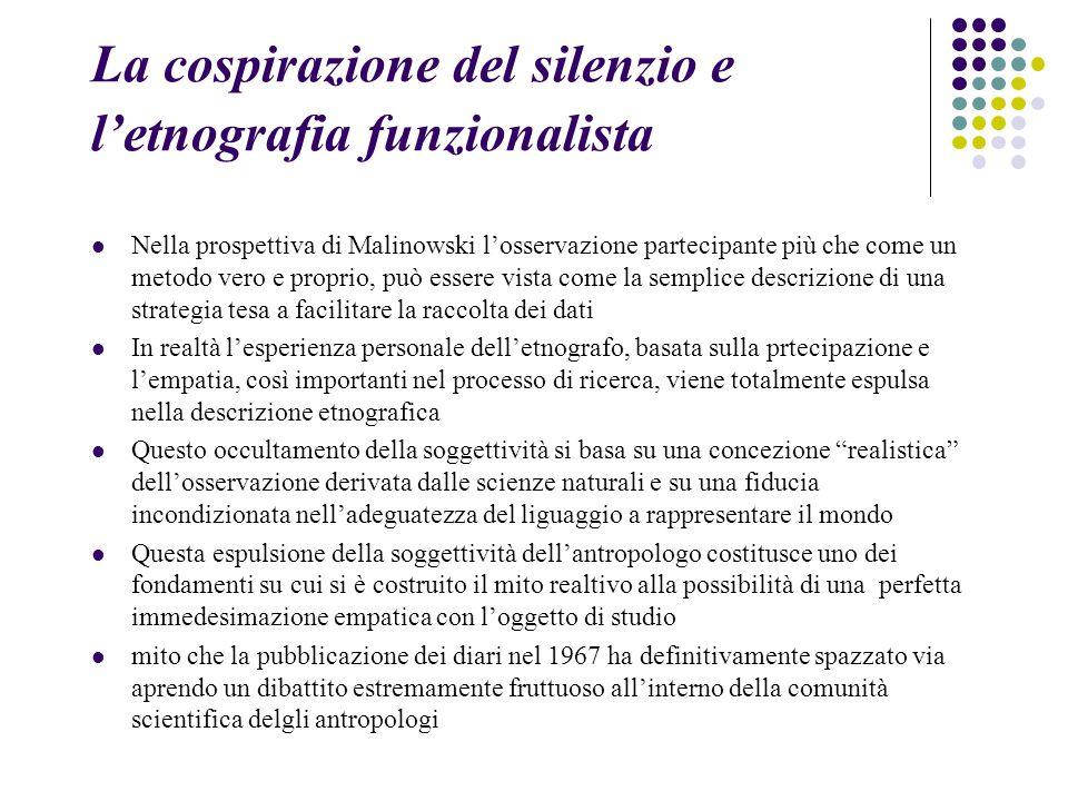 La cospirazione del silenzio e l'etnografia funzionalista