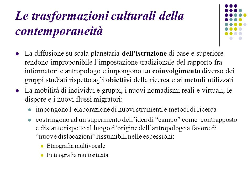 Le trasformazioni culturali della contemporaneità