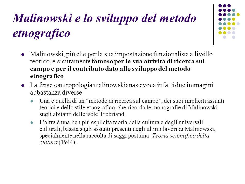 Malinowski e lo sviluppo del metodo etnografico