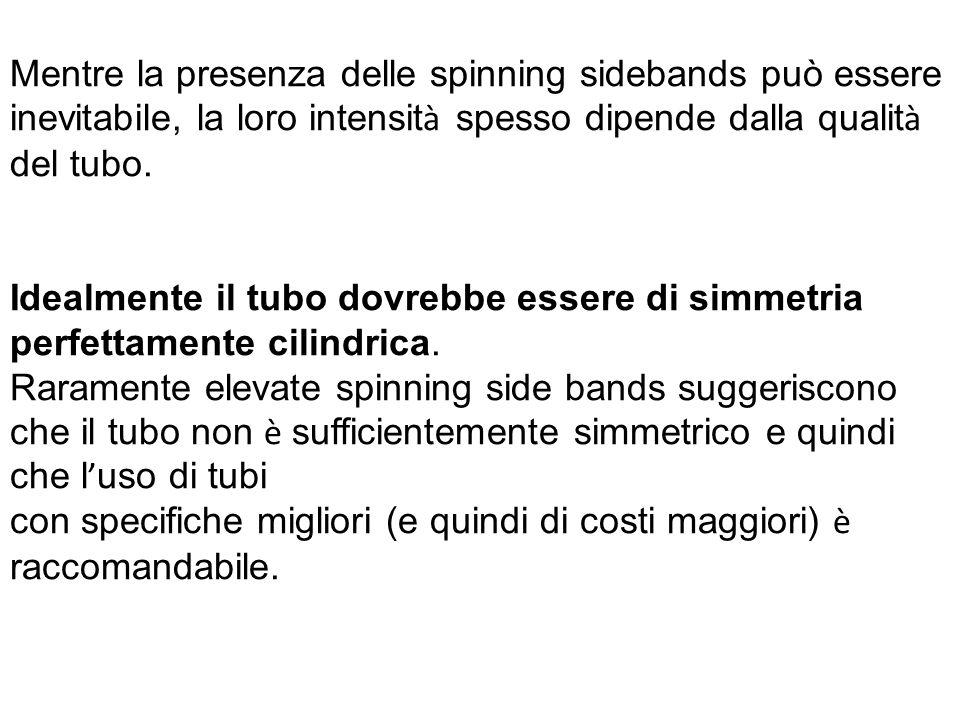 Mentre la presenza delle spinning sidebands può essere inevitabile, la loro intensità spesso dipende dalla qualità del tubo.