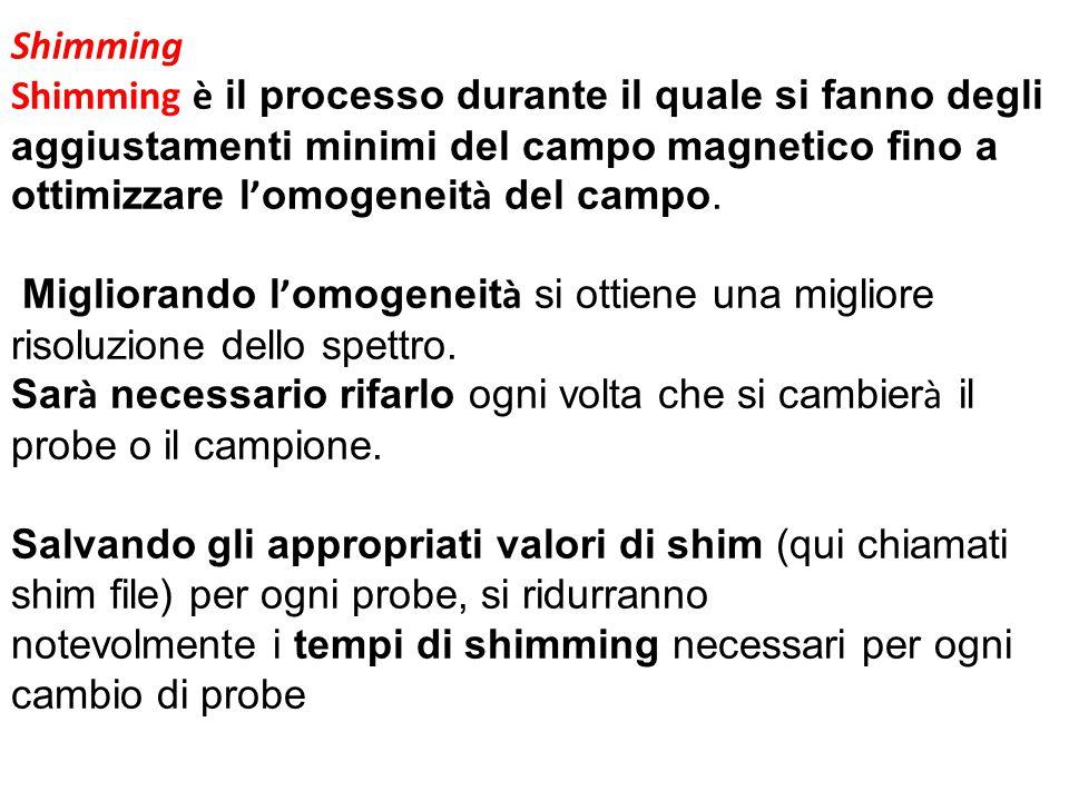Shimming Shimming è il processo durante il quale si fanno degli aggiustamenti minimi del campo magnetico fino a ottimizzare l'omogeneità del campo.