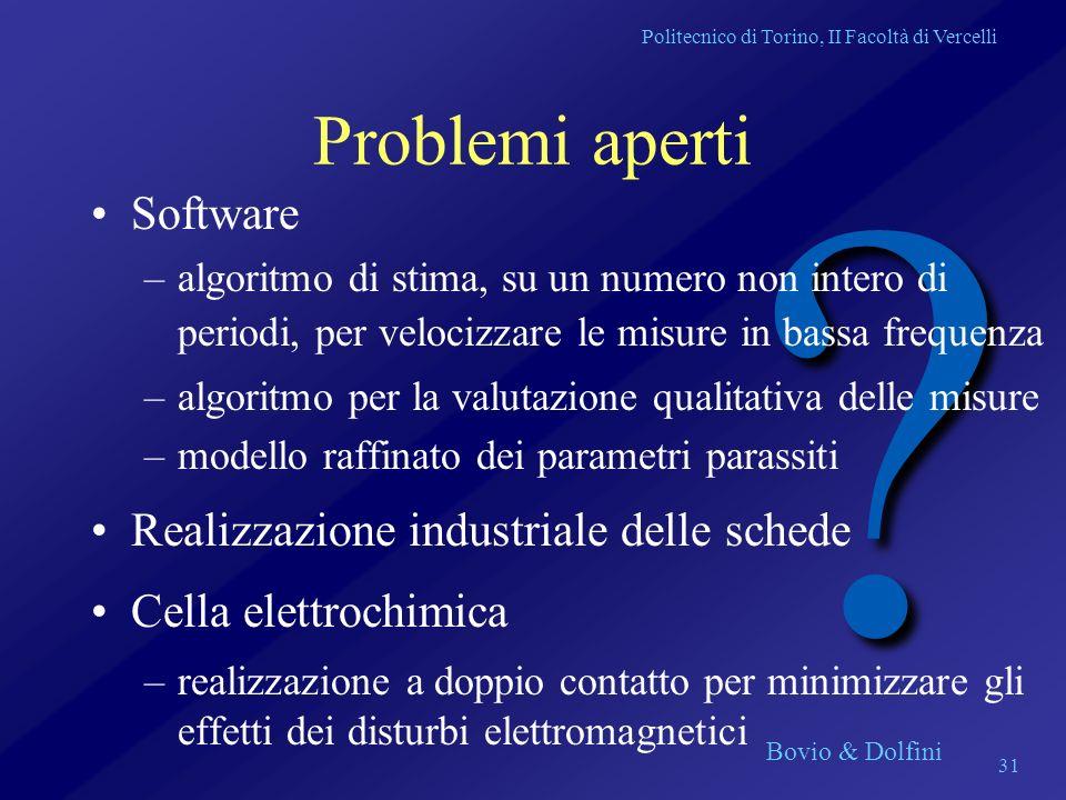 Problemi aperti Software Realizzazione industriale delle schede