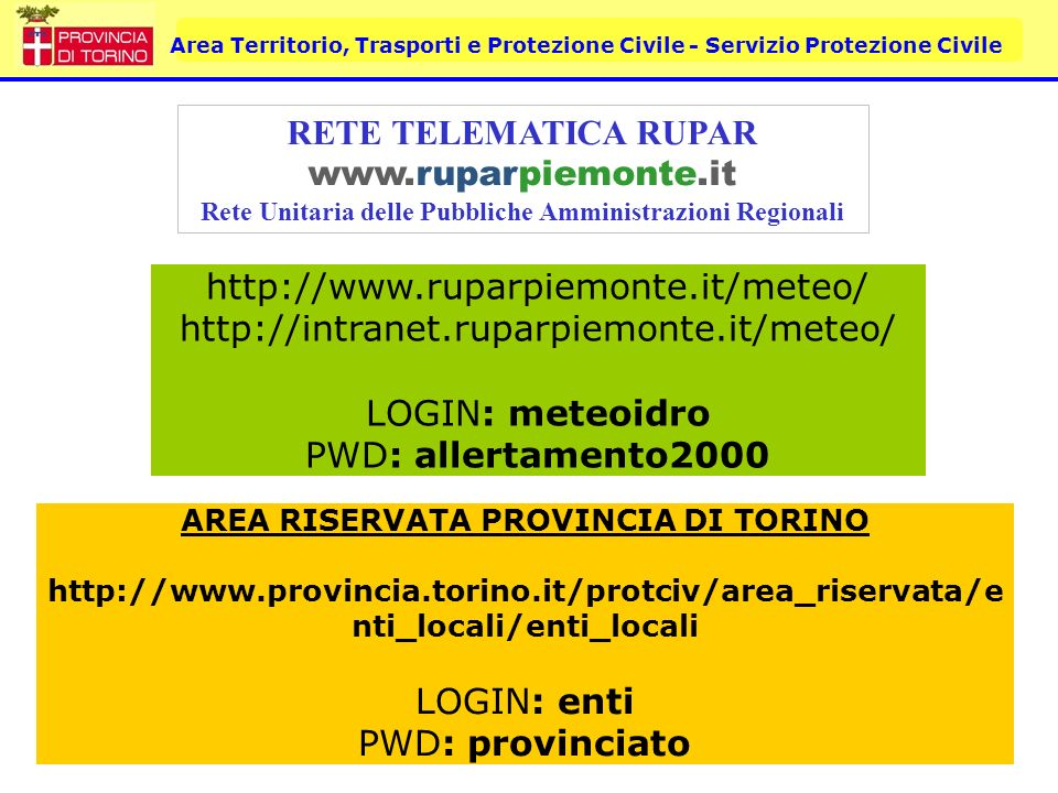 RETE TELEMATICA RUPAR www.ruparpiemonte.it