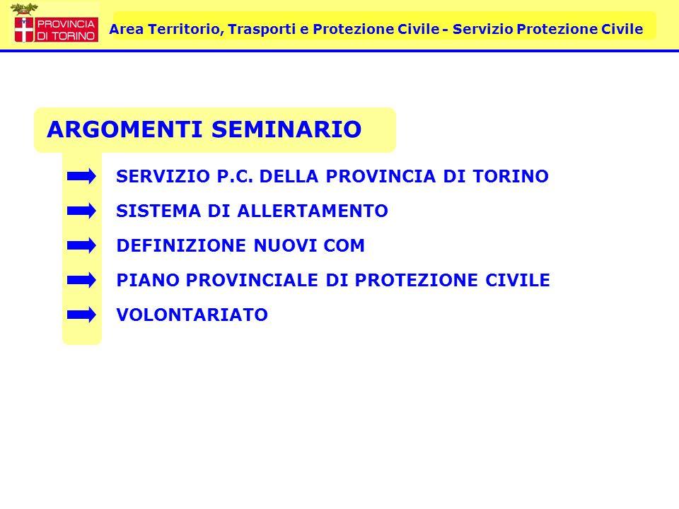 ARGOMENTI SEMINARIO SERVIZIO P.C. DELLA PROVINCIA DI TORINO