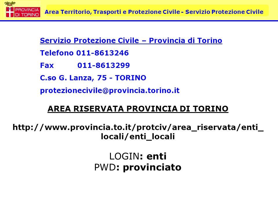 AREA RISERVATA PROVINCIA DI TORINO