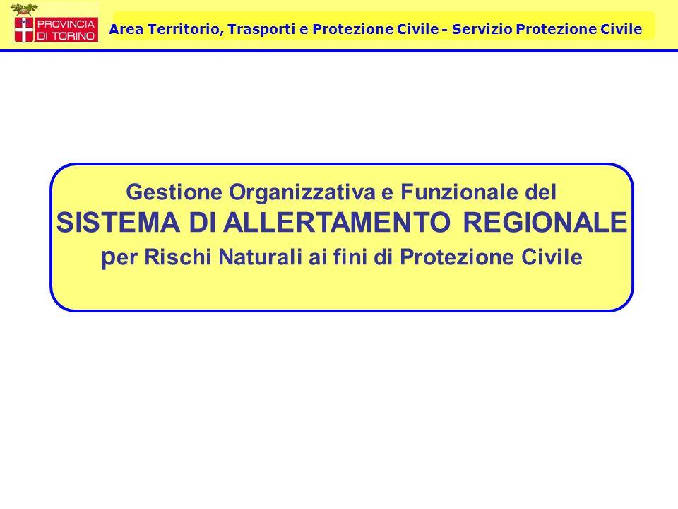 Gestione Organizzativa e Funzionale del SISTEMA DI ALLERTAMENTO REGIONALE per Rischi Naturali ai fini di Protezione Civile