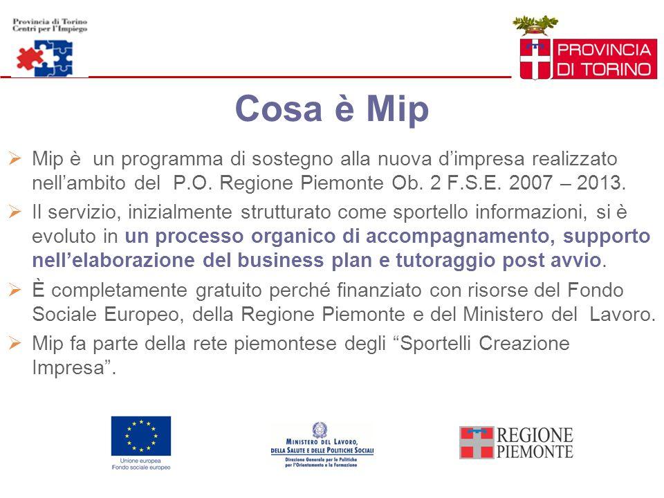 Cosa è Mip Mip è un programma di sostegno alla nuova d'impresa realizzato nell'ambito del P.O. Regione Piemonte Ob. 2 F.S.E. 2007 – 2013.