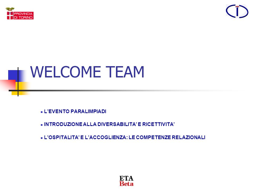WELCOME TEAM L'EVENTO PARALIMPIADI