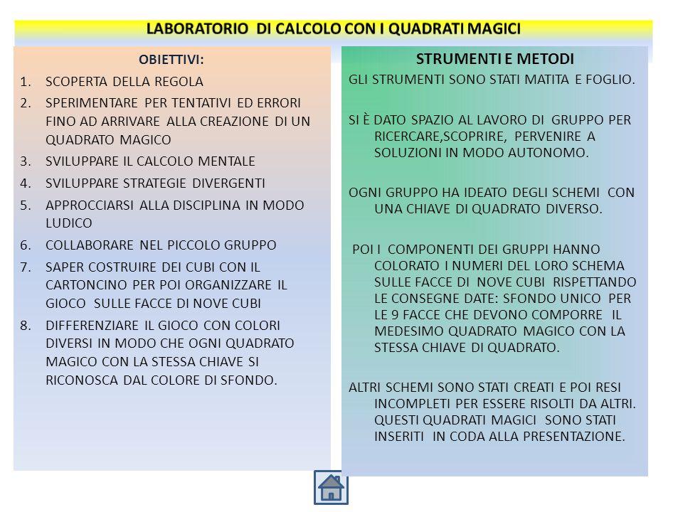 LABORATORIO DI CALCOLO CON I QUADRATI MAGICI
