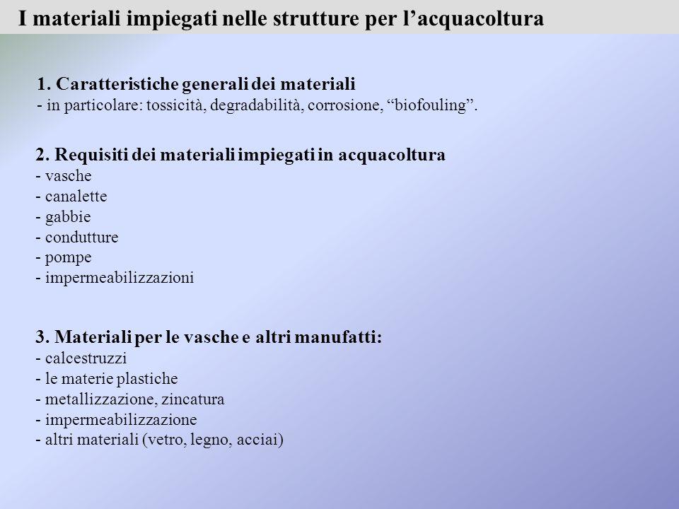 I materiali impiegati nelle strutture per l'acquacoltura