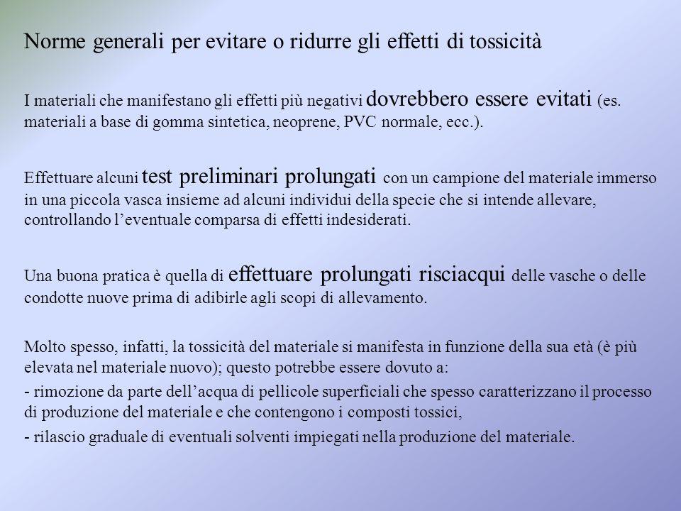 Norme generali per evitare o ridurre gli effetti di tossicità