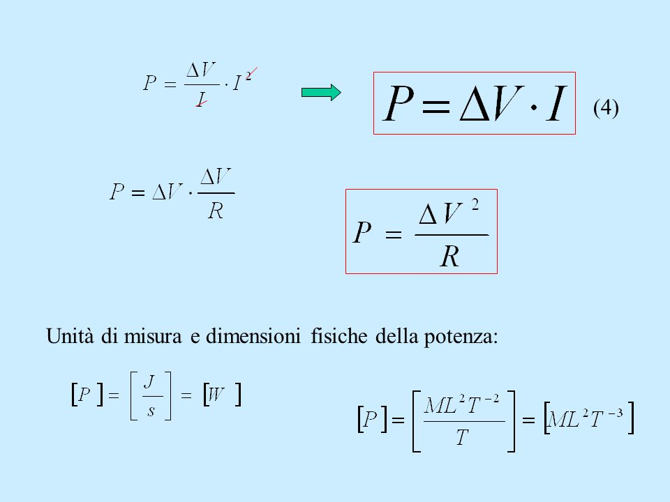 (4) Unità di misura e dimensioni fisiche della potenza: