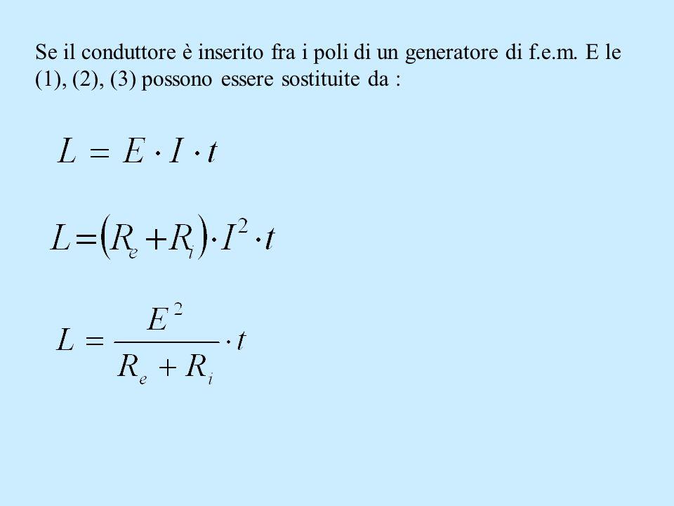 Se il conduttore è inserito fra i poli di un generatore di f. e. m